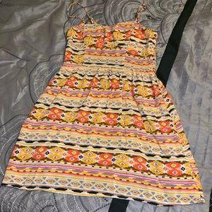 Cute little cotton summer mini dress Aztec print